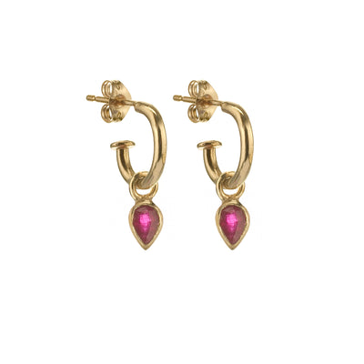EC One Metier Small Gold Hoops with Pear Shaped Ruby Pair