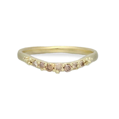 Hannah Bedford Champagne Diamond Contour Ring Yellow Gold