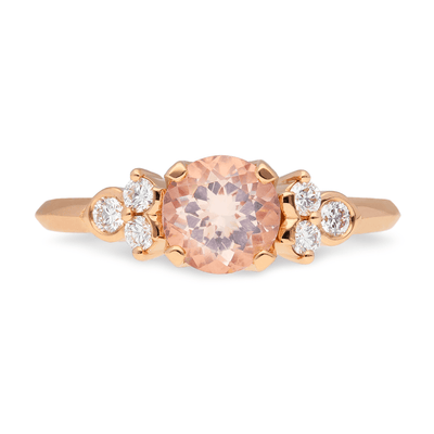 Large Morganite 'Hatty' Rose Gold Diamond Ring