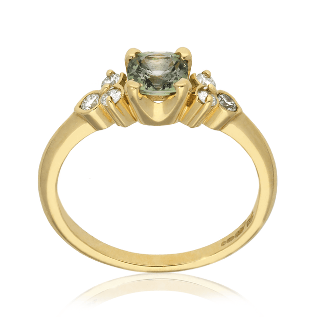 'Hatty' Yellow Gold Green Sapphire Engagement Ring