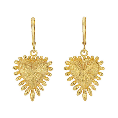 Zoe & Morgan Heart Rays Gold Plated Drop Earrings