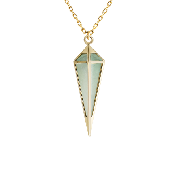 Metier Large Gold Pendulum Necklace with Amazonite