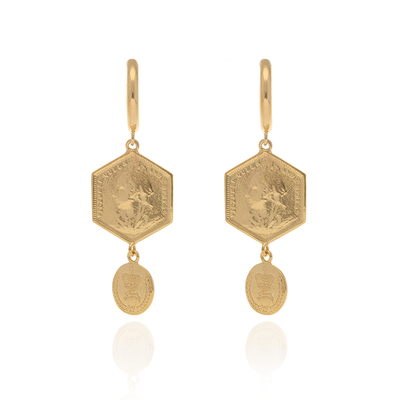 Hex Coin Drop Earrings