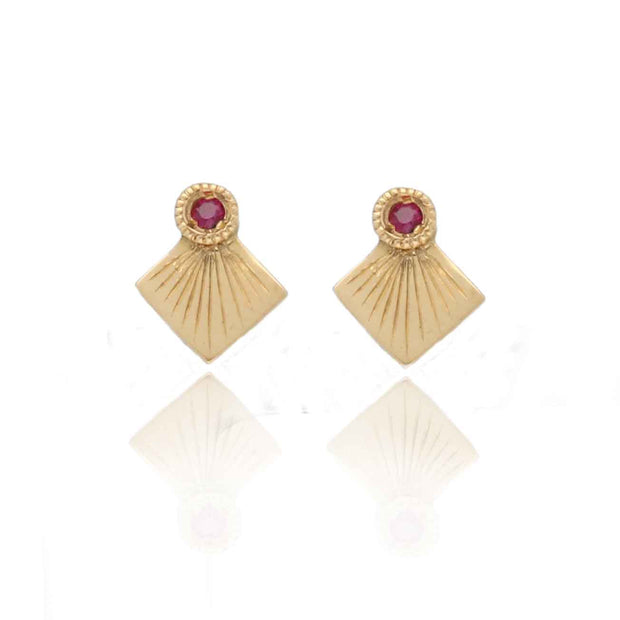 EC One Hiroshi Gold Kite and Ruby Stud Earrings