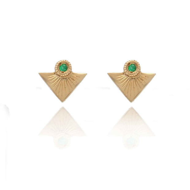 EC One Hiroshi recycled Gold Point and Emerald Stud Earrings