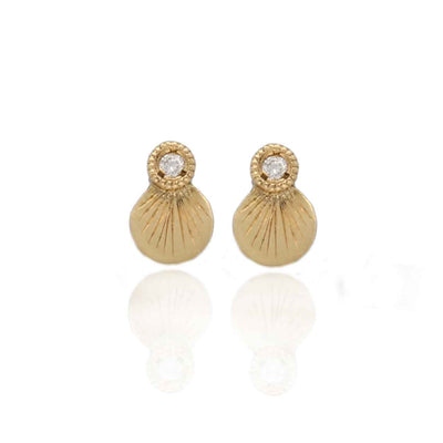 EC One Hiroshi recycled Gold Round and Diamond Stud Earrings
