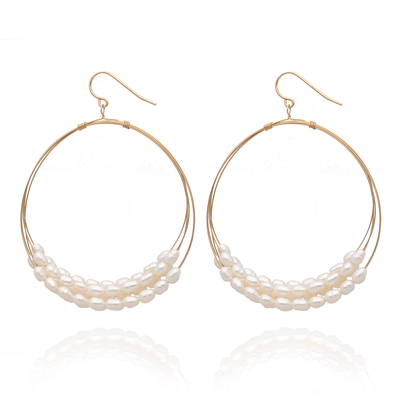 Large Hoop Earrings with White Pearls