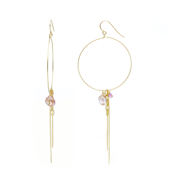 Hoops with Pink Sapphires and chains