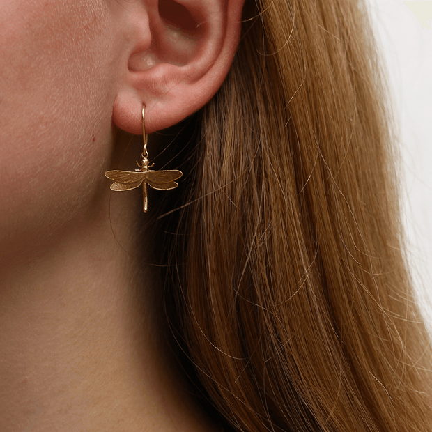 Dragonfly Hook Earrings Gold Plate