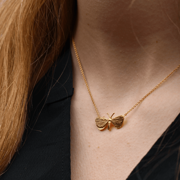 Drab Looper Moth In-line Gold Plate Necklace