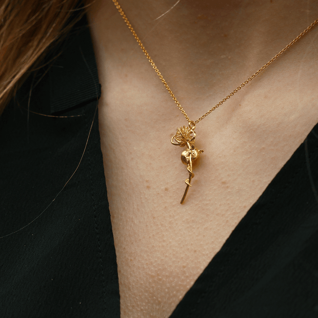 Harvest Mouse and Teasle Necklace Gold Plated