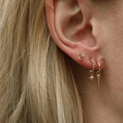 Pear Ruby Gold Studs Pair