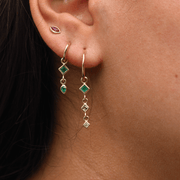 Double Emerald Drop Earrings