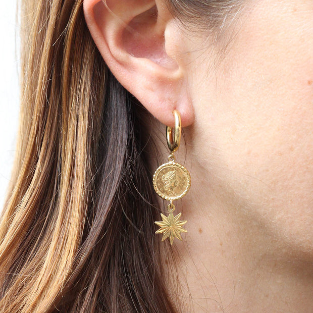 EC One Becca Jewellery Coin Star Drop Earrings
