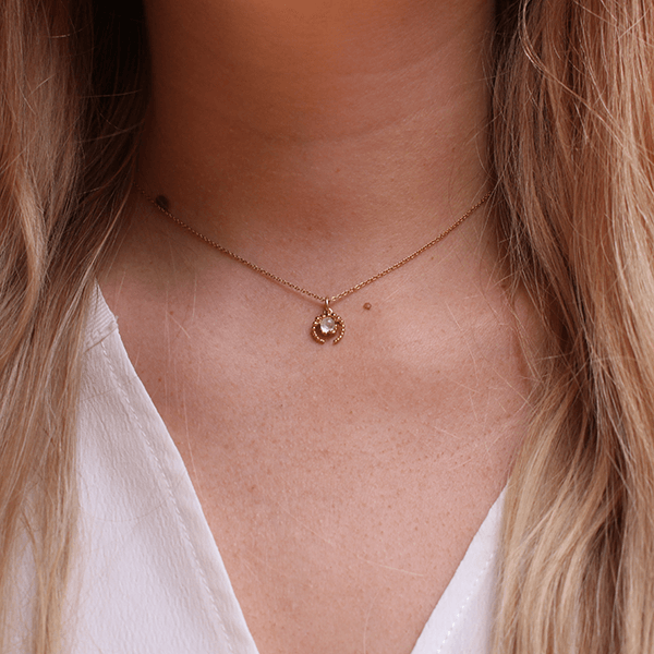 Mini Crescent Moon & Moonstone Gold Necklace