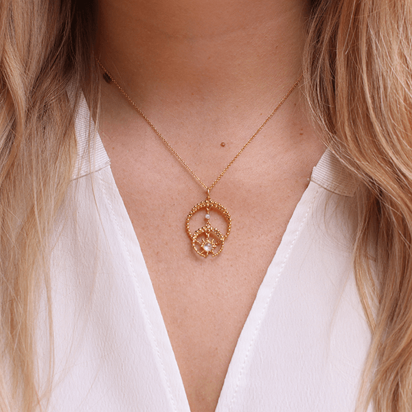 Double Crescent Moon & Moonstone Star Gold Necklace