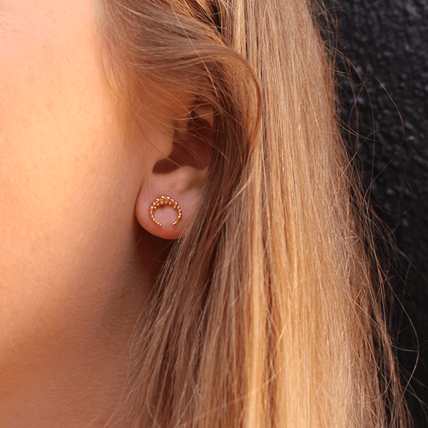 Small Crescent Moon Gold Studs