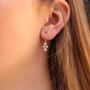 Multi Diamond Gold Hoop Earrings