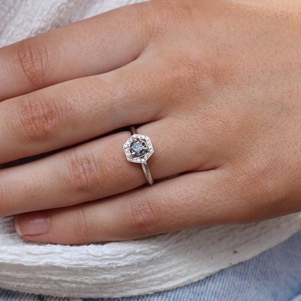 ELLIE AIR x EC ONE - Helios Salt and Pepper diamond Engagement Ring White Gold