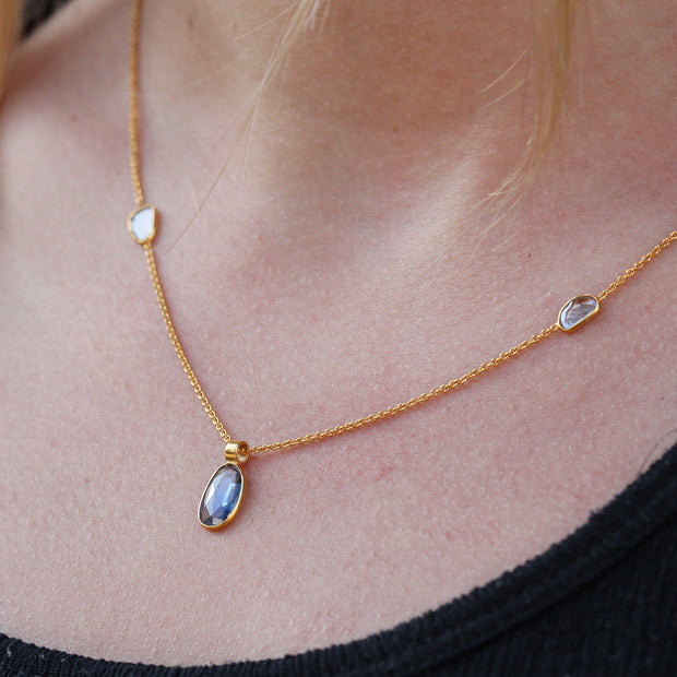 Blue Sapphire and Diamond Slice Gold Necklace