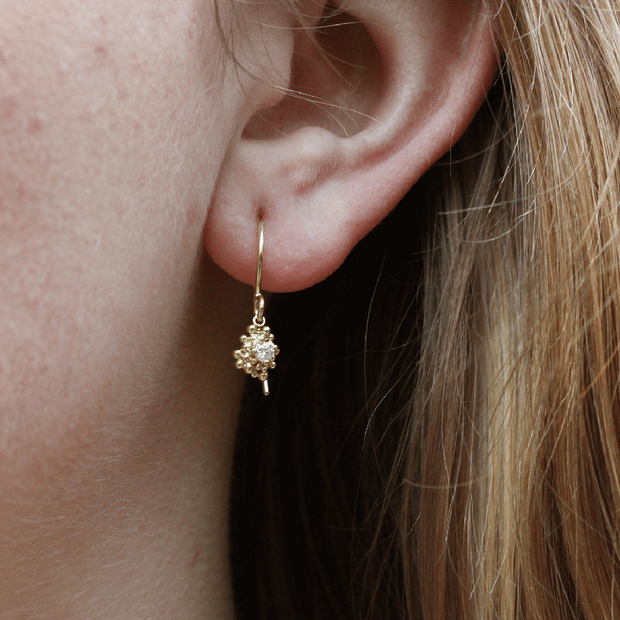 EC One Hannah Bedford Diamond Cluster Drop Earrings Recycled Yellow Gold