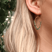 Emerald Loop Hook Earrings