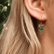 Emerald Bunch Hook Earrings