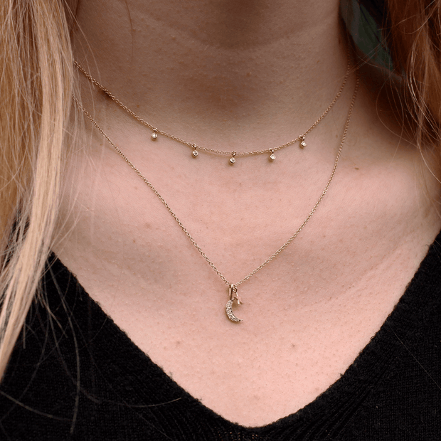 Gold Necklace with 5 Dangling Diamonds