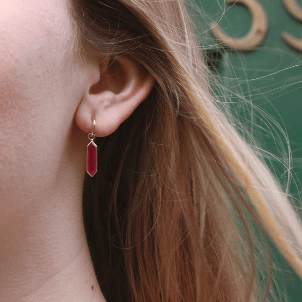 Gold Hoops with Ruby-Quartz Hexa Drops Pair