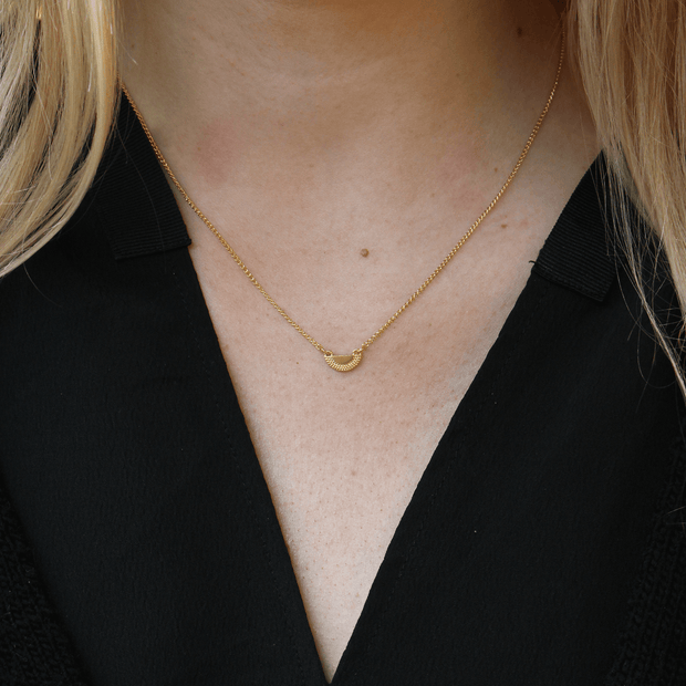 Ruptus Textured Half Circle Pendant Necklace Gold Plated