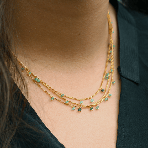 Triple Chain Emerald Necklace