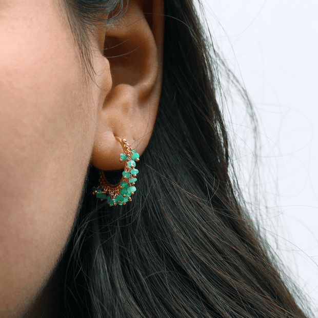 Small Chain Hoop Emerald Earrings