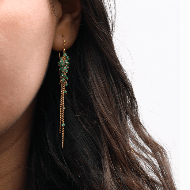 Feather Long Drop Emerald Earrings