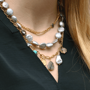 Multi layered Grey Pearl, Chain & Gemstone Necklace