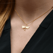 Dragonfly Necklace Gold Plated