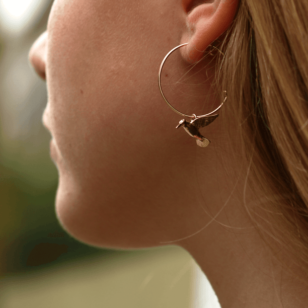Hummingbird Gold Hoop Earrings