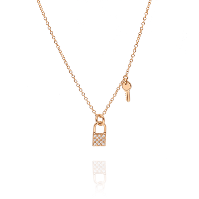 Diamond Padlock & Itty Bitty Key Gold Necklace
