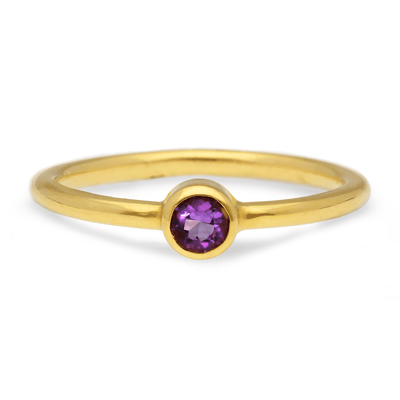 """Jane"" Purple Amethyst Gold Ring"