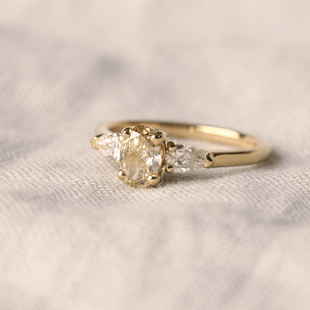 EC One ethical champagne diamond engagement ring made in recycled gold in London