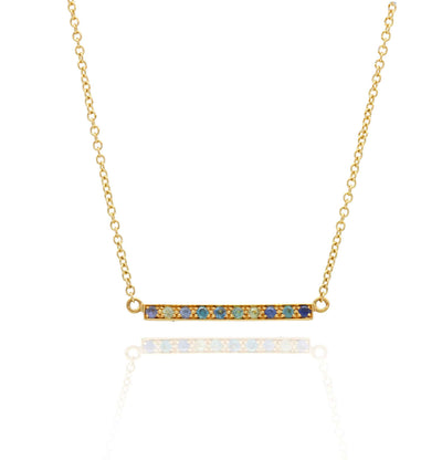 EC One Long Kaleidoscope Gold Bar Necklace in Mixed Blue & Green Gemstones