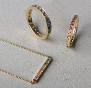 "EC One ""Kaleidoscope"" recycled Gold and gemstone bar necklace and eternity rings"