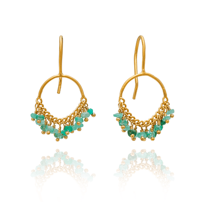Circle Loop Hook Emerald Earrings