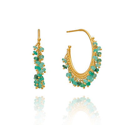 Large Chain Hoop Emerald Earrings