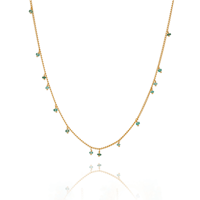 Single Fine Scattered Chain Emerald Necklace
