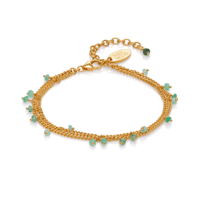 Double Chain Scattered Emerald Bracelet