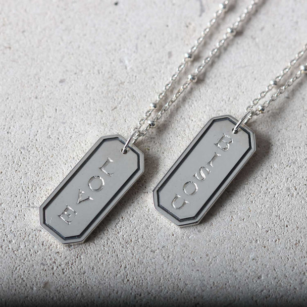 "Silver ""BISOU"" Rectangular Pendant Necklace"