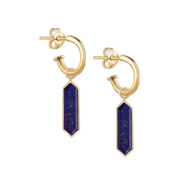"Metier Gold Hoops with Lapis ""Hexa"" Drops Pair"