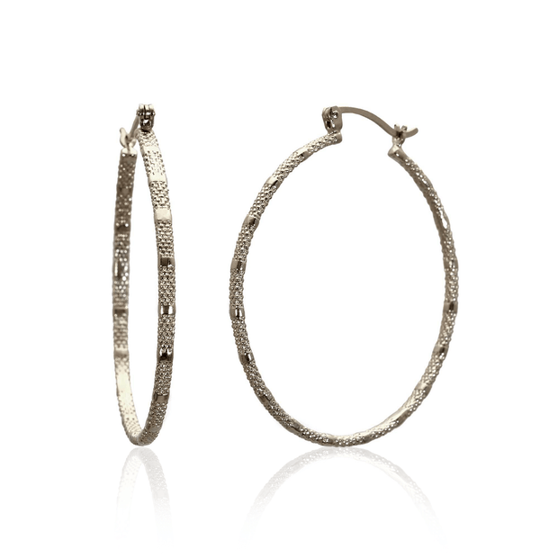 Large Skinny 'Fracture' Hoops with Texture