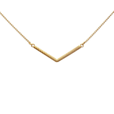 "EC One Rosie Kent Gold Plated Lava Folk Textured ""V"" Pendant"