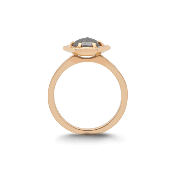 EC One 'Leila' Rose Gold Hexagonal Salt and Pepper grey Diamond Ring